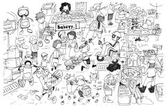 Black and white drawing of busy market cartoon - stock illustration