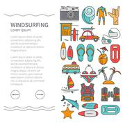 Linear Design Windsurfing brochure template - stock illustration