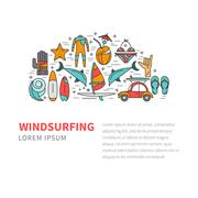 Windsurfing vector pattern design - stock illustration