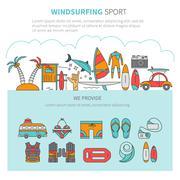 Windsurfing vector linear concept Stock Illustration