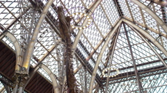 4K View of interior architecture & dinosaur exhibits in Natural History museum Stock Footage