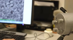 Modern digital microscope in a lab Stock Footage