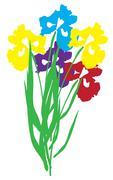 Vector Iris Flower - stock illustration