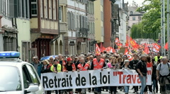 Protest against labor law in France Stock Footage