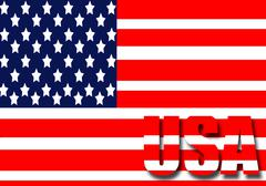 American flag shaped into letters USA with flag background - stock illustration