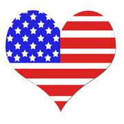 American flag background in a heart shape Stock Illustration