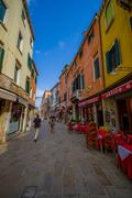 VENICE, ITALY - JUNE 18, 2015: Restaurants in Venecia, pizzeria very popular in Kuvituskuvat
