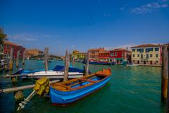 MURANO, ITALY - JUNE 16, 2015: Nice and beautiful picture in Murano harbor with - stock photo