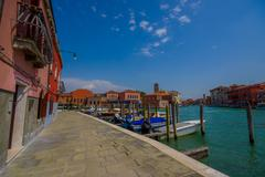 MURANO, ITALY - JUNE 16, 2015: Historic and traditional architecture houses at - stock photo