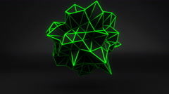 Green glow polygonal 3D shape on black. Loop 4k UHD (3840x2160) Stock Footage