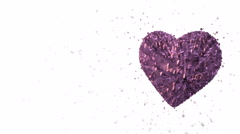 Rotating luminous 3d purple heart formed pieces and cubes - stock footage