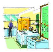 Office kitchen, party at office after work Stock Illustration