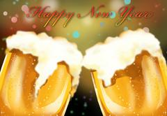 happy new year beer celebreation - stock illustration