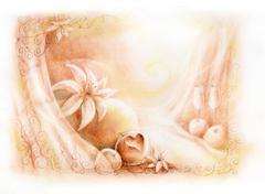 pastel hand drawn wedding celebration card illustration - stock illustration