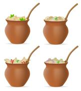 Dumplings of dough with a filling and greens in clay pot set icons vector ill Stock Illustration