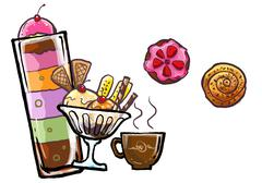 Ice cream and desert sweet illustration Stock Illustration