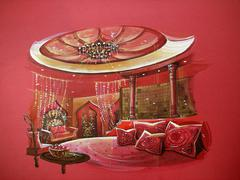 Red indian style bedroom interior with round bed Stock Illustration
