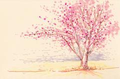 Sakura cherry blossom soft color illustration - stock illustration