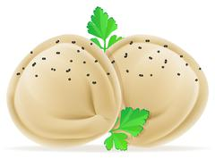 dumplings pelmeni of dough with a filling and greens vector illustration - stock illustration