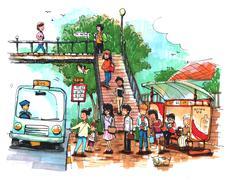 Bus stop, public transportation cartoon drawing - stock illustration