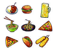 international and different kind of food illustration can use as separated pi - stock illustration