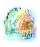 Quartz cave rainbow color fantasy illustration Stock Illustration