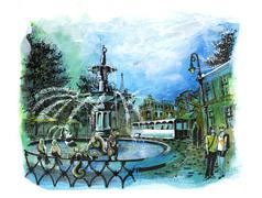 savannah georgia beautiful fountain  tourist place illustration - stock illustration