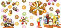 colorful international variety of food banner illustration - stock illustration
