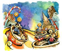 Theme park, amusement park illustration fun summer Stock Illustration