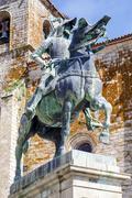 Equestrian statue of Francisco Pizarro in Trujillo Stock Photos