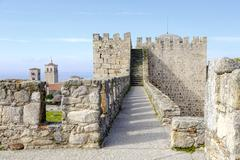Castle of Trujillo, a medieval village in the province of Caceres - stock photo