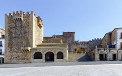 Caceres Extremadura Spain. Bujaco Tower - stock photo
