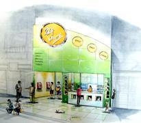 Minimart convenient store open 24-7 neighbor shop Stock Illustration