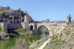 Alcantara Bridge, over the river Tage, Toledo Stock Photos