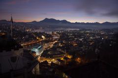 Aerial view over Luzern (Lucerne) at sunrise, Switzerland Stock Photos