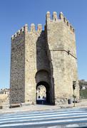 Tower defense Alcantara bridge in Toledo Stock Photos
