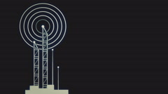 Antenna towers with radiowave signal flat animation - stock footage