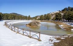 Birth of the Tajo, la Fuente Garcia in the town of Frias de Albarracin - stock photo