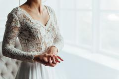 Wedding. Bride. Preparations. Wedding Dress - stock photo