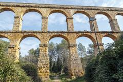 Devil's Bridge Roman aqueduct built near Tarragona - stock photo