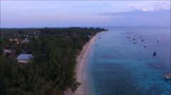 Aerial view of Gili Trawangan, Lombok, Indonesia. Stock Footage