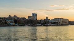 Savannah River Street Sunset Timelapse Stock Footage