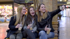 Friends Pose With Their Coffee Drinks, For Selfies, In The Mall Stock Footage
