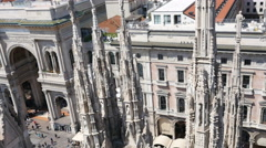 Milan buildings view from roof Duomo catholic cathedral Gothic architectural  - stock footage