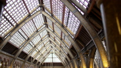 4K View of interior architecture & dinosaur exhibits in Natural History museum - stock footage