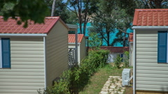 Small holiday homes at the seaside Stock Footage