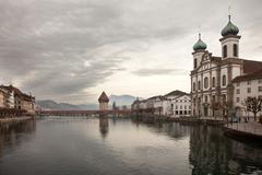 City views from downtown Luzern (Lucerne), Switzerland - stock photo