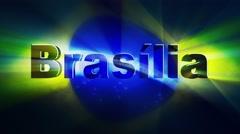 BRASILIA Text Animation and Brazil Flag, Loop, 4k Stock Footage