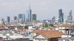Milan cityscape roof top Duomo cathedral view on high business center buildings Stock Footage