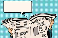 Press newspaper read news - stock illustration